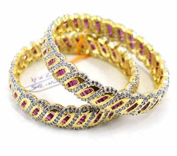 Gold Plated Diamond Cut Bangles Set (2 pcs)