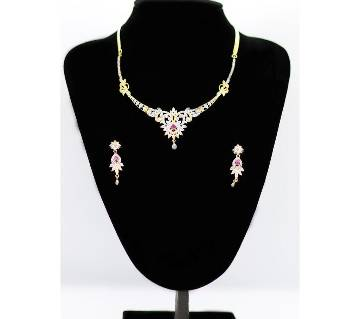 Diamond cut Stone Gold Plated Indian Necklace Set for Women
