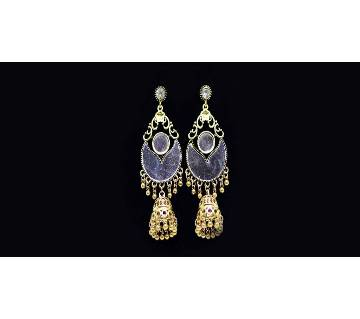 Antique Gold mirror party jhumka drop earrings set