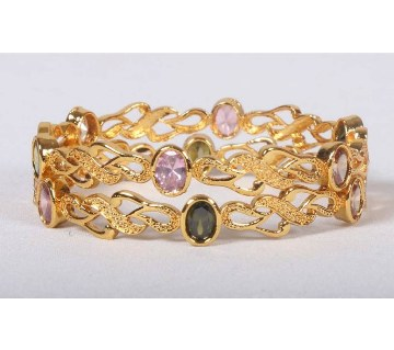 Stone Setting Indian Bangles Set (2 pieces)