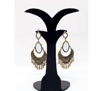 Antique Metal Mirror Setting Golden Earring For Women