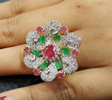 Diamond Cut Stone Setting Indian Finger Ring