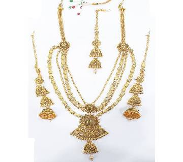 Gold Plated Stone Setting Necklace Set