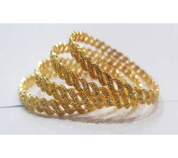 Gold Plated Diamond Cut Bangles (4 pc)