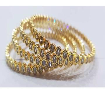 Gold Plated Diamond Cut Bangles (4 pc)