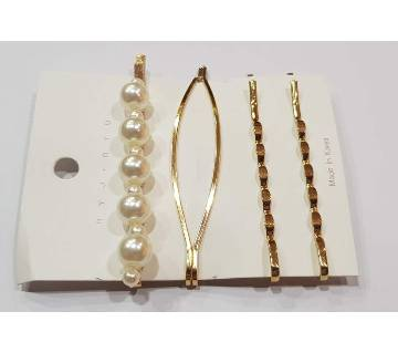 Fashion Korean Style Metal Pearl Hairpin Set Minimalist Ladies Hair Side Clip
