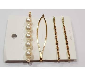 Fashion Korean Style Metal Pearl Hairpin Set Minimalist Ladies Hair Side Clip