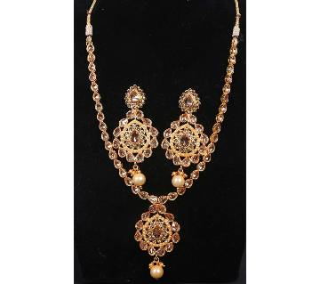 Stone Setting Gold Plated Necklace Set