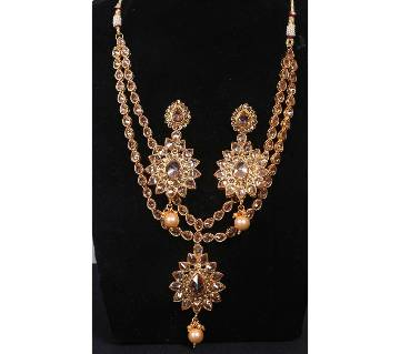 Stone Setting Gold Plated Two Layer Necklace Set