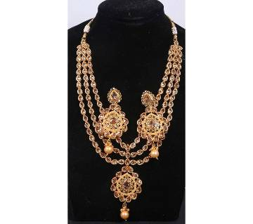 Stone Setting Gold Plated Three Layer Necklace Set