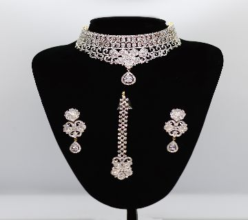 AD Necklace with earrings Artificial American Diamond Stone