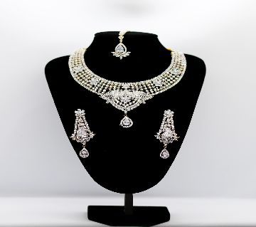 AD Necklace with earrings American Diamond Stone