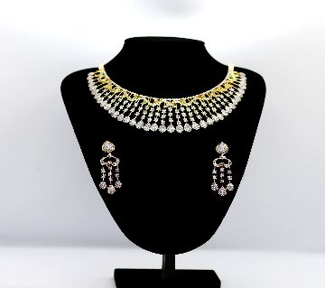 AD Necklace with earrings Artificials American Diamond Stone