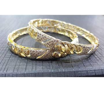 Gold-Plated Diamond Cut Bangles Set - 2 pieces