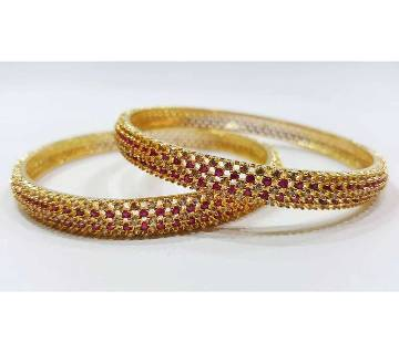 Gold-Plated Diamond Cut Bangles Set - 2 pieces