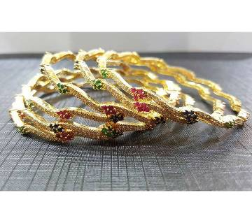 Gold-Plated Diamond Cut Bangles Set - 6 pieces