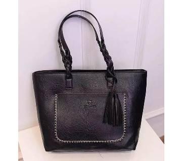 Women Artifical Leather Sidebag Handbag - Black - 1834