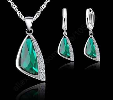 Crystal Pendant Necklace Hoop Earring Set
