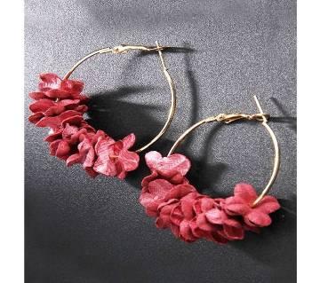 Elegant Fabric Flower Hoop Earrings Ear Ring For Women