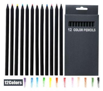 12 Pcs/Set Black Wood Professional Drawing Color Pencils