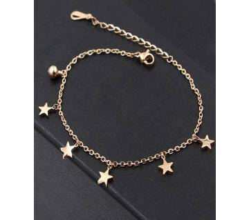 Five Stars Bell Rose Stainless Steel Anklet (Gold Color)