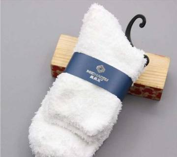 1 Pairs Thick Fluffy Solid Color Ankle Men Soft Fuzzy Socks