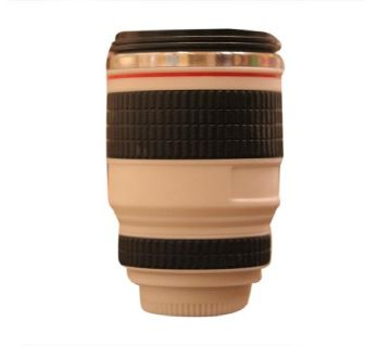 PVC Plastic Camera Lens Water Bottle - Black and Tan