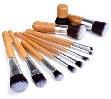 Professional Bamboo Makeup Brush Set - 11 Pcs UK