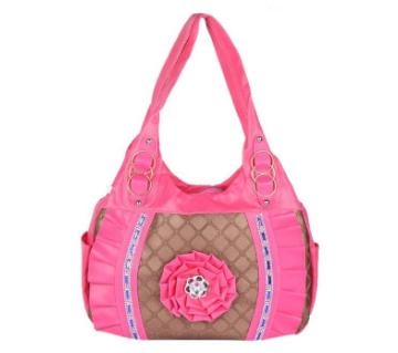 Pink Artificial Leather Shoulder Bag For Women