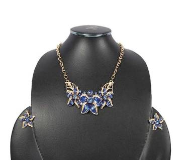 Blue and Golden Crystal Necklace set for Women