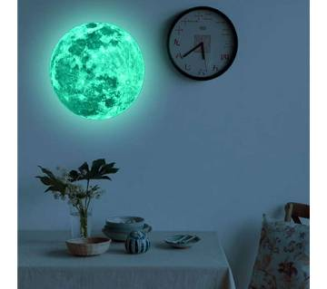 3D Luminous Moon Earth Wall Stickers 20cm for Home Decor Living Room
