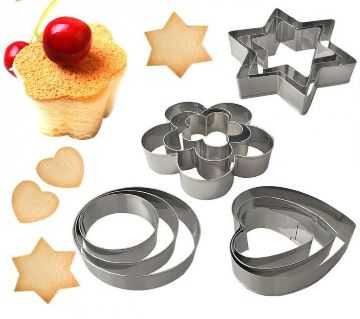 12 Piece Set Stainless Steel Pastry Cookie Biscuit Cutter Cake Muffin Decor Mold Multifunctional Tool