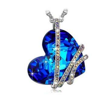 Blue Stone  heart design Necklaces for Women