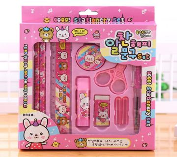 10pcs Kids Stationery Set For Girls and Boys-pink
