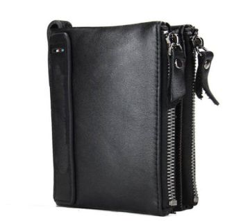 Black Original Leather Card Holder and Two Zipper Pockets Wallet for Men