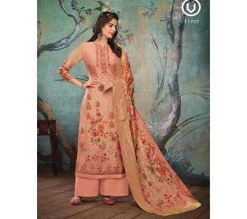 Unstitch Pure Muslin Shalwar Kameez for Women - Peach
