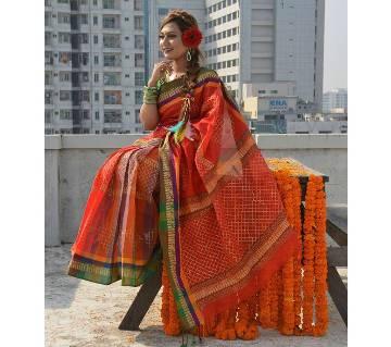 Block Cotton Saree - Red Color With Green Par