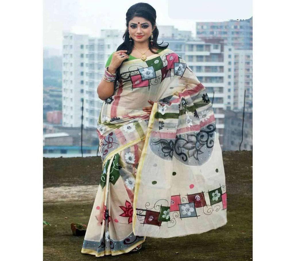 সুতি কোটা হ্যান্ড প্রিন্ট শাড়ি ব্লাউজ পিস সহ বাংলাদেশ - 930253