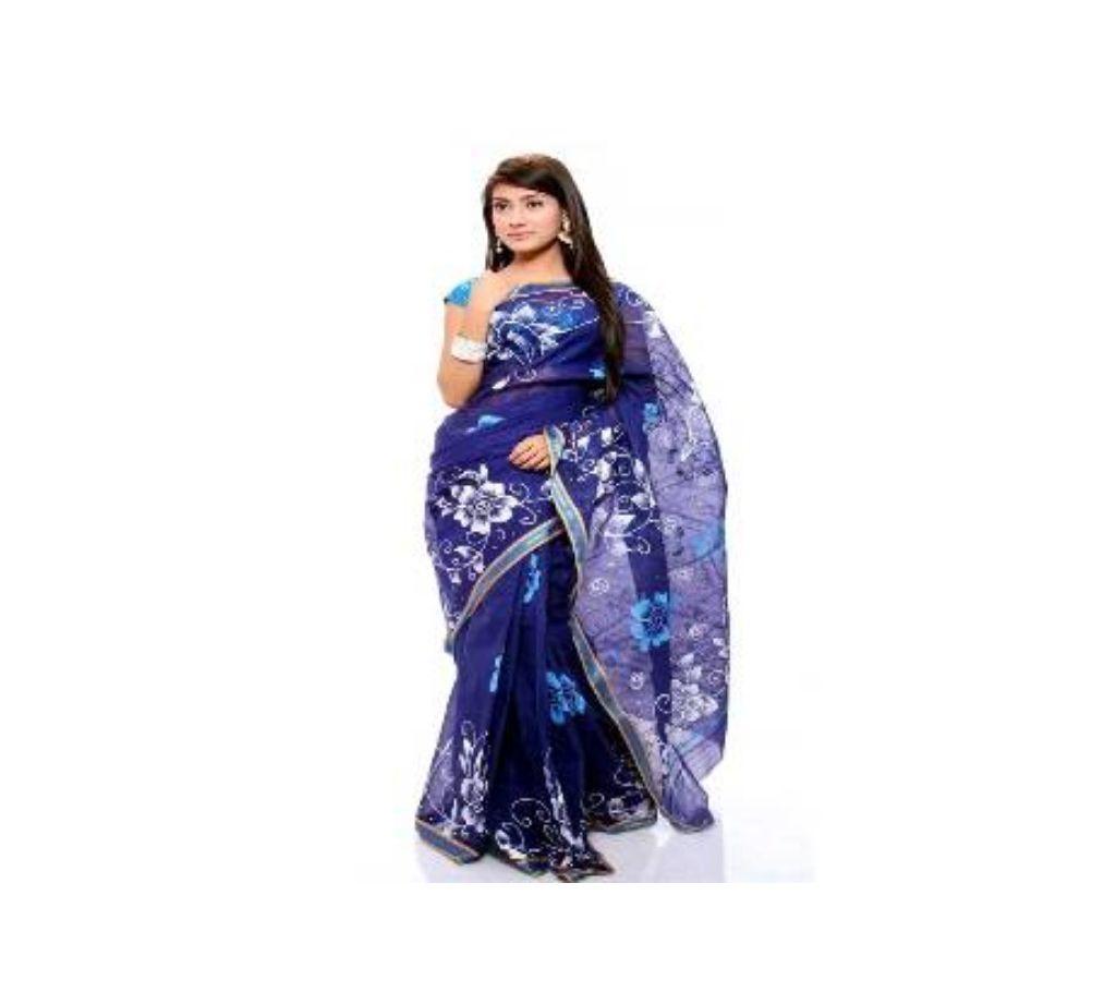 সুতি কোটা হ্যান্ড প্রিন্ট শাড়ি ব্লাউজ পিস সহ ১৩ হাত বাংলাদেশ - 930295