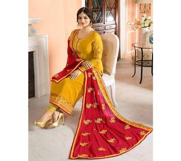 Unsitched Georgette Embroidery Party Three Piece - Copy