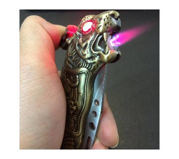 Gas lighter with knife