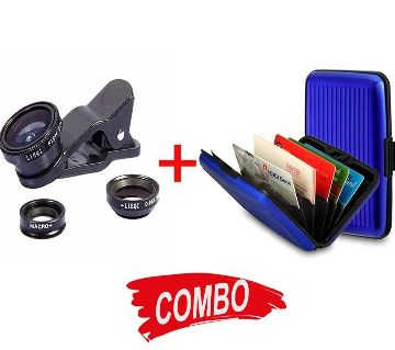 Credit Card Wallet + Clip Lens for Mobile Combo Offer