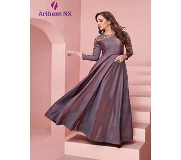 Arihant NX Floret Vol-4 স্টিচড সফট প্লেইন সিল্ক গাউন