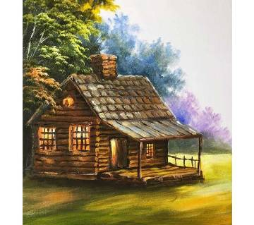Cottage Acrylic painting on art paper