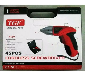 TGF 45 PCS Cordless Screwdriver With Drill Machine