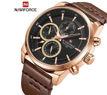 NAVIFORCE 9148 Mens Sport Watch Men Business Leather Watches 24Hour Date Display