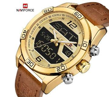 NAVIFORCE 9128 Luxury Brand PU Leather Dual Display Watch For Men