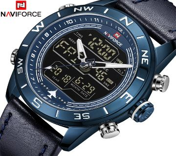 NAVIFORCE 9144 LED Blue Leather  watch (dual display)