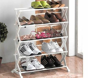 Stainless Steel Folding Portable 5 Layer Shoe Rack Organizer Footwear