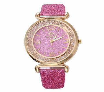 Pink Womens Sparkling Luxury Crystal Rhinestone Stainless Steel Female Watch